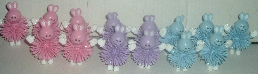 Lot of 14 Cute Smiling BUNNY bunnies PVC Figures 2.5""