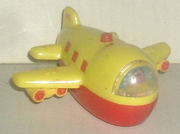 McD MCDONALD Grimace in plane airplane rolling toy figure 3.5""