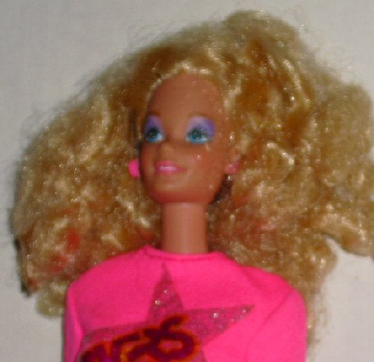 BARBIE vtg 80s Rocker Blonde Doll wearing pink top