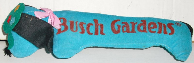 "Vtg hard felt Plush blue DOG 9.5"" BUSCH GARDENS"