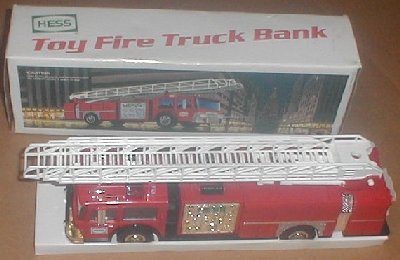 1986 HESS Gasoline Toy Red Fire Truck Bank MIB